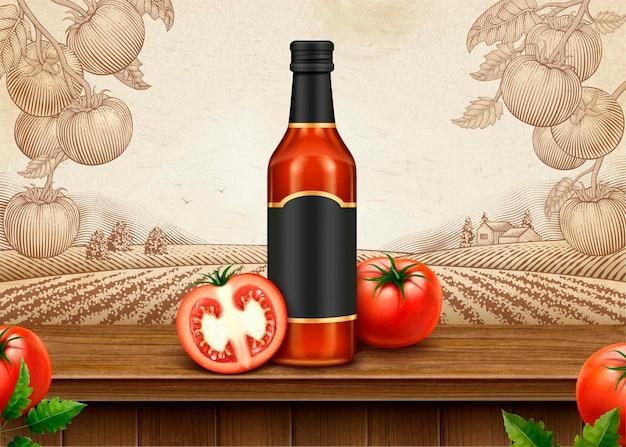 Anuncios retro de salsa de tomate con paquete en blanco de ilustración 3d en huerto de tomate estilo grabado