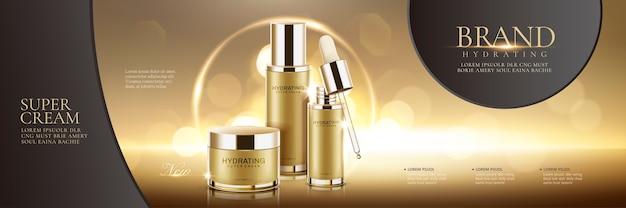 Anuncios de set de cosméticos sobre fondo dorado brillante