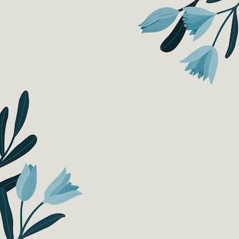 Anuncios sociales de espacio de copia botánica azul