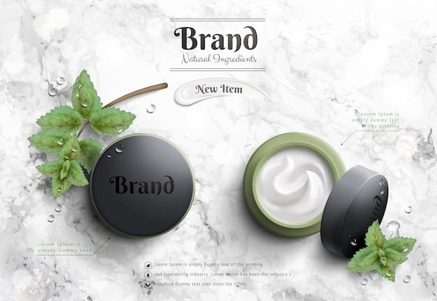 Anuncios de tarros de crema cosmética con paquete verde turbio y elemento de menta en la mesa de piedra de mármol en la ilustración 3d