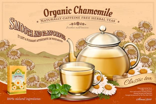 Anuncios de té de manzanilla orgánico con tetera de vidrio en campos florales de grabado retro