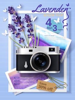 Anuncios de viajes de temporada de lavanda, atractivos anuncios de paquetes turísticos para agencias de viajes y sitios web con una cámara delicada y flores en la ilustración