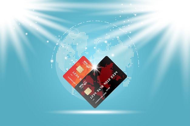 Anverso de la tarjeta con mapamundi digital.
