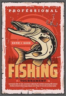 Anzuelo, pez lucio y aparejo de pescador