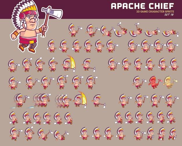 Apache chief warrior personaje de dibujos animados game animation sprite