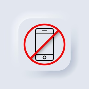 Apague el teléfono. ningún icono de teléfono. vector. no hay señal de hablar y llamar. prohibición de teléfono. botón web de interfaz de usuario blanco neumorphic ui ux. neumorfismo. eps vectoriales 10