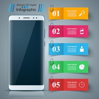 Aparato digital, teléfono inteligente. infografía de negocios