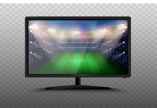 Aparato de tv inteligente moderno ilustración 3d. pantalla lcd de plasma con estadio de fútbol. partido de copa mundial de fútbol. noticias deportivas en tv.