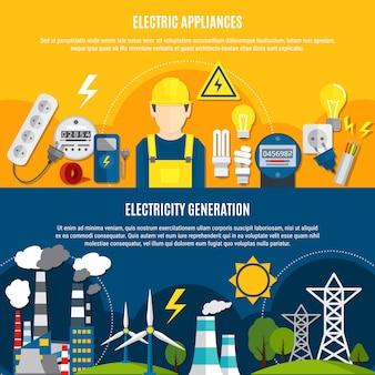 Aparatos eléctricos y pancartas de generación de energía