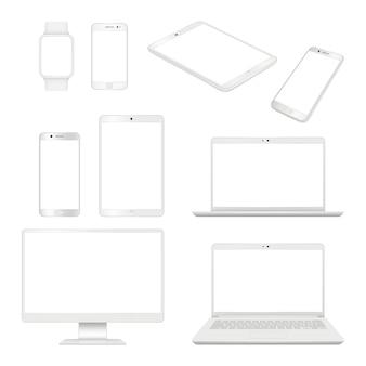 Aparatos realistas. monitoree la computadora portátil y la tableta del teléfono inteligente maqueta en blanco dispositivos de computadora