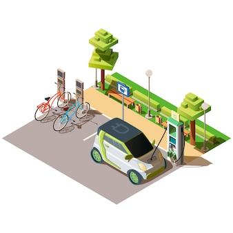 Aparcamiento de coches eléctricos y bicicletas.