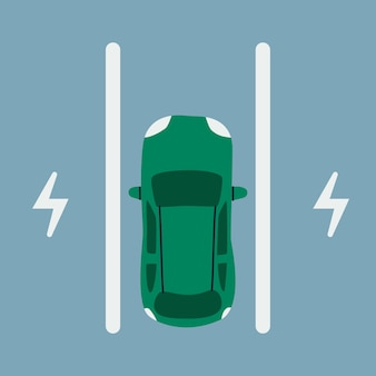 Aparcamiento de coches eléctricos. coche de pasajeros en una plaza de aparcamiento para cargar, vista superior.