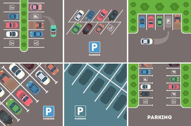 Aparcamiento en conjunto ciudad. coches con plazas de aparcamiento.