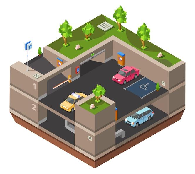 Aparcamiento subterráneo de varios pisos isométrico 3d para la construcción