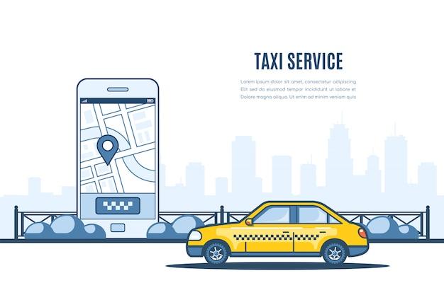 Aparcamiento de taxis a lo largo de la calle de la ciudad. teléfono móvil con mapa de la ciudad y sillhouette de la gran ciudad en el fondo. bandera de estilo plano de servicio de taxi.