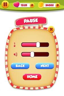 Aparece una escena del menú de pausa con sonido de música y botones