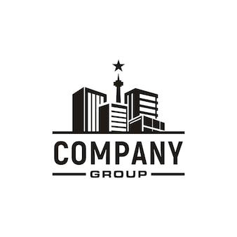 Apartamento, bienes raíces, paisaje urbano, diseño del logotipo de city skyline