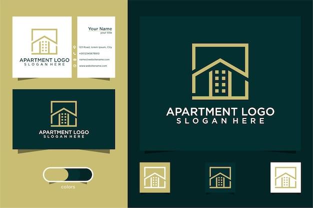Apartamento diseño de logotipo simple y tarjeta de visita.