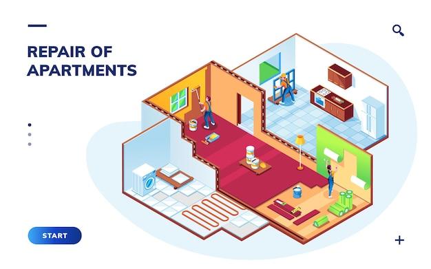 Apartamento isométrico con trabajadores de reparación.