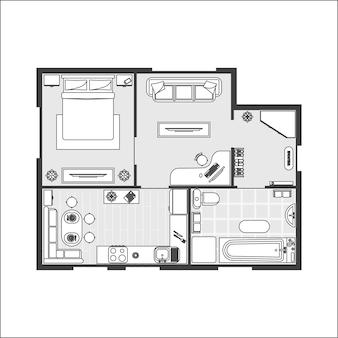 Apartamento plan bruja muebles esquema de línea delgada de piso diseño de interiores vista superior.