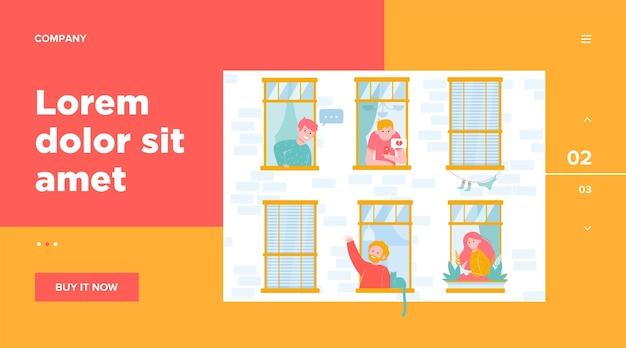 Apartamento ventanas abiertas con vecinos amigables ilustración plana.