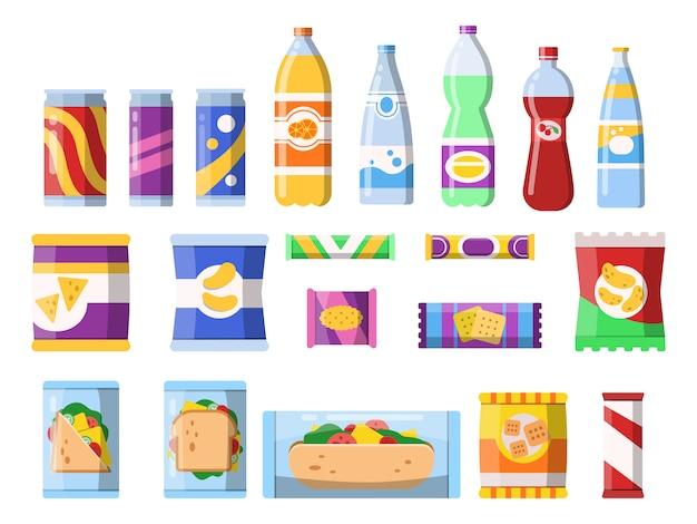 Aperitivos y bebidas. productos de comercialización de comida rápida, envases de plástico, agua, refrescos, galletas, patatas fritas, barra, chocolate, imágenes planas