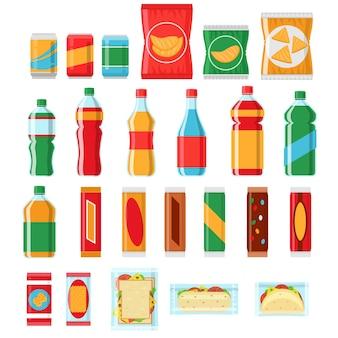 Aperitivos de comida rápida y bebidas iconos vectoriales planos. productos de máquinas expendedoras, bocadillos, productos de chips, paquete de ilustración de bocadillos