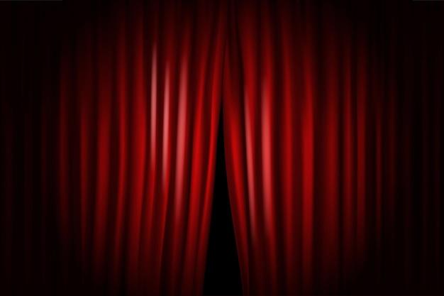 Apertura de cortinas de escenario con proyectores brillantes. ilustración vectorial. plantilla de standup show