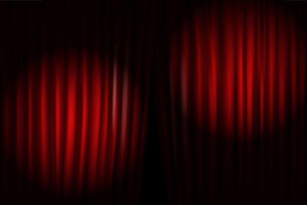 Apertura de cortinas de escenario con proyectores luminosos. ilustracion vectorial standup show template