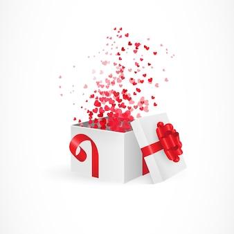 Apertura de caja de regalo para el día de san valentín