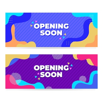 Apertura pronto banner con diseño moderno de memphis