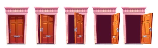 Apertura de la puerta de entrada de madera con marco de piedra aislado sobre fondo blanco. conjunto de dibujos animados de entrada de la casa, puertas marrones cerradas, entreabiertas y abiertas. ilustración para animación de sprites o juego 2d.