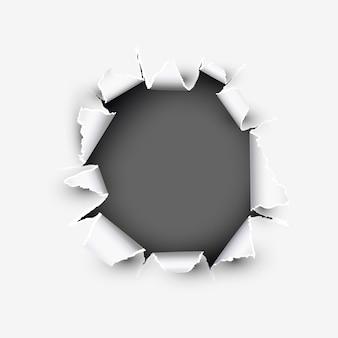 Apertura redonda mostrando espacio en papel rasgado