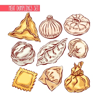Apetitoso conjunto de diferentes albóndigas. ilustración dibujada a mano