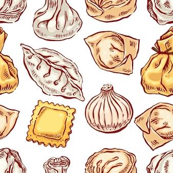 Apetitoso sin costuras con una variedad de albóndigas. ilustración dibujada a mano