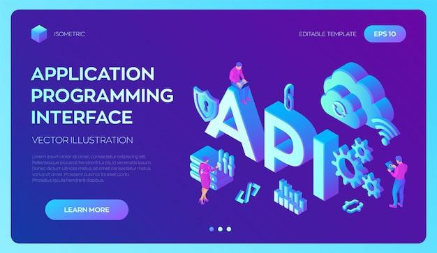 Api interfaz de programación de aplicaciones. herramienta de desarrollo de software, concepto de tecnología de la información.