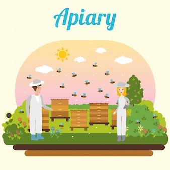 Apiario de abejas. apicultor