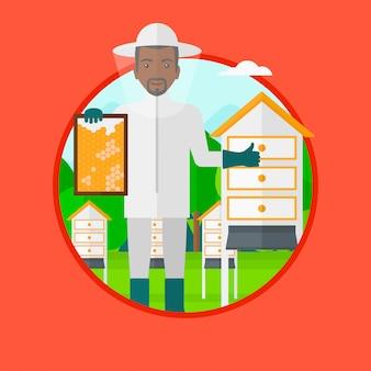 Apicultor en la ilustración vectorial apiario.