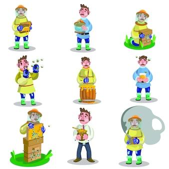 Apicultor macho adulto en ropa de trabajo especial con estructura de panales con conjunto de ilustraciones de miel.