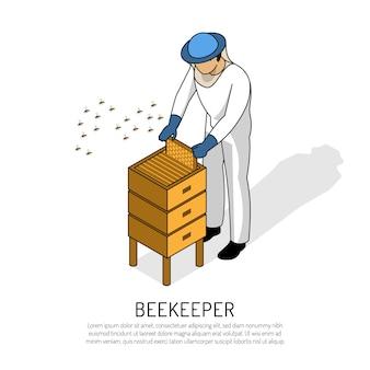 Apicultor en ropa protectora durante el trabajo con colmena de abejas en blanco isométrico