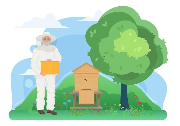 Apicultura, apicultura, granja, apiario, trabajo, en, aldea, anciano, apicultor, tenencia, panal