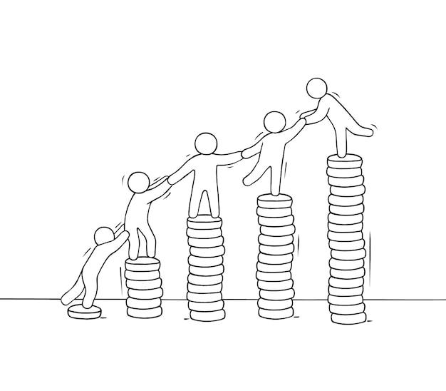 Apila monedas con gente pequeña que trabaja. doodle linda miniatura del trabajo en equipo
