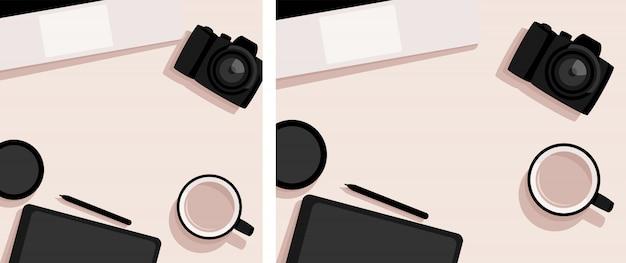 Aplanada con laptop, cámara, tableta y taza de café