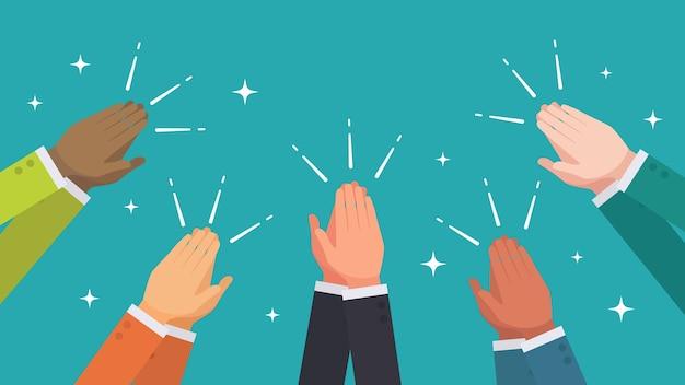 Aplaudiendo las manos del vector del grupo étnico de personas de negocios