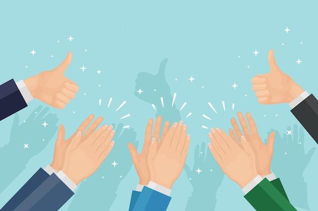 Aplaudir de las manos. socios aplaudiendo. aplausos, ánimo, pulgar arriba. buena opinión, concepto de retroalimentación positiva. felicitar por un trato exitoso