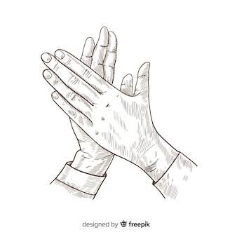 Aplauso vintage dibujado a mano sin color