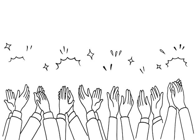 Aplausos dibujar a mano, manos humanas aplaudiendo ovación.