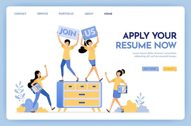 Aplica tu currículum ahora página de destino