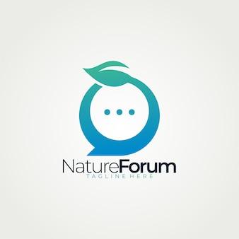 Aplicación aislada de icono de logotipo de foro de naturaleza