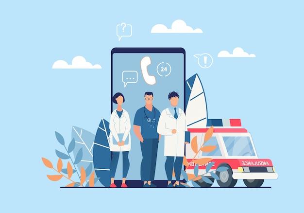 Aplicación de ambulancia brillante cartel de dibujos animados plana.